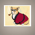 """Bob Corgman Knows Best"" Welsh Corgi Giclee Illustration Art Print - Yay for Fidget Art!"