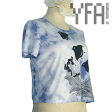 Blue and White Tie Dye Chidori Crop Top