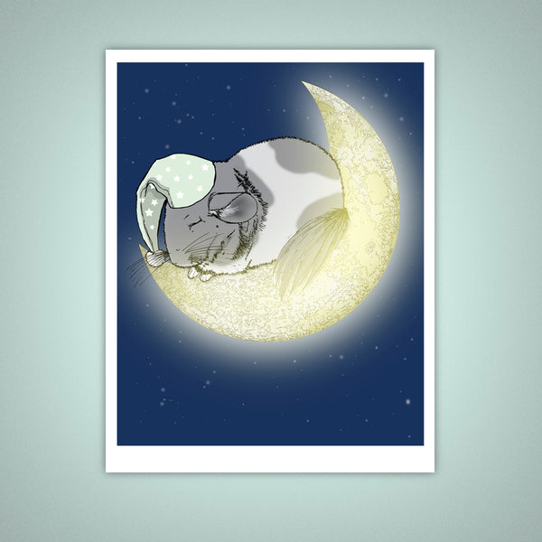 Sleeping Chinchilla, Crescent Moon Giclee Illustration Art Print - Yay for Fidget Art!