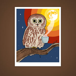 Coffee Night Owl Giclee Illustration Art Print - Yay for Fidget Art!