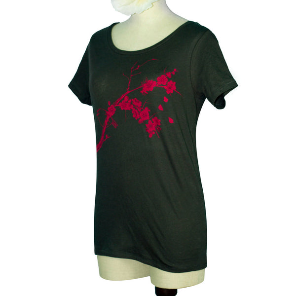 Black Plum Blossoms, Bird Organic Scoop Neck T-Shirt - Yay for Fidget Art!
