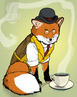 Fancy Red Fox Tea Time Single Greeting Card - Yay for Fidget Art!