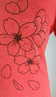 Heather Red Cherry Blossom Organic Scoop Neck T-Shirt - Yay for Fidget Art!