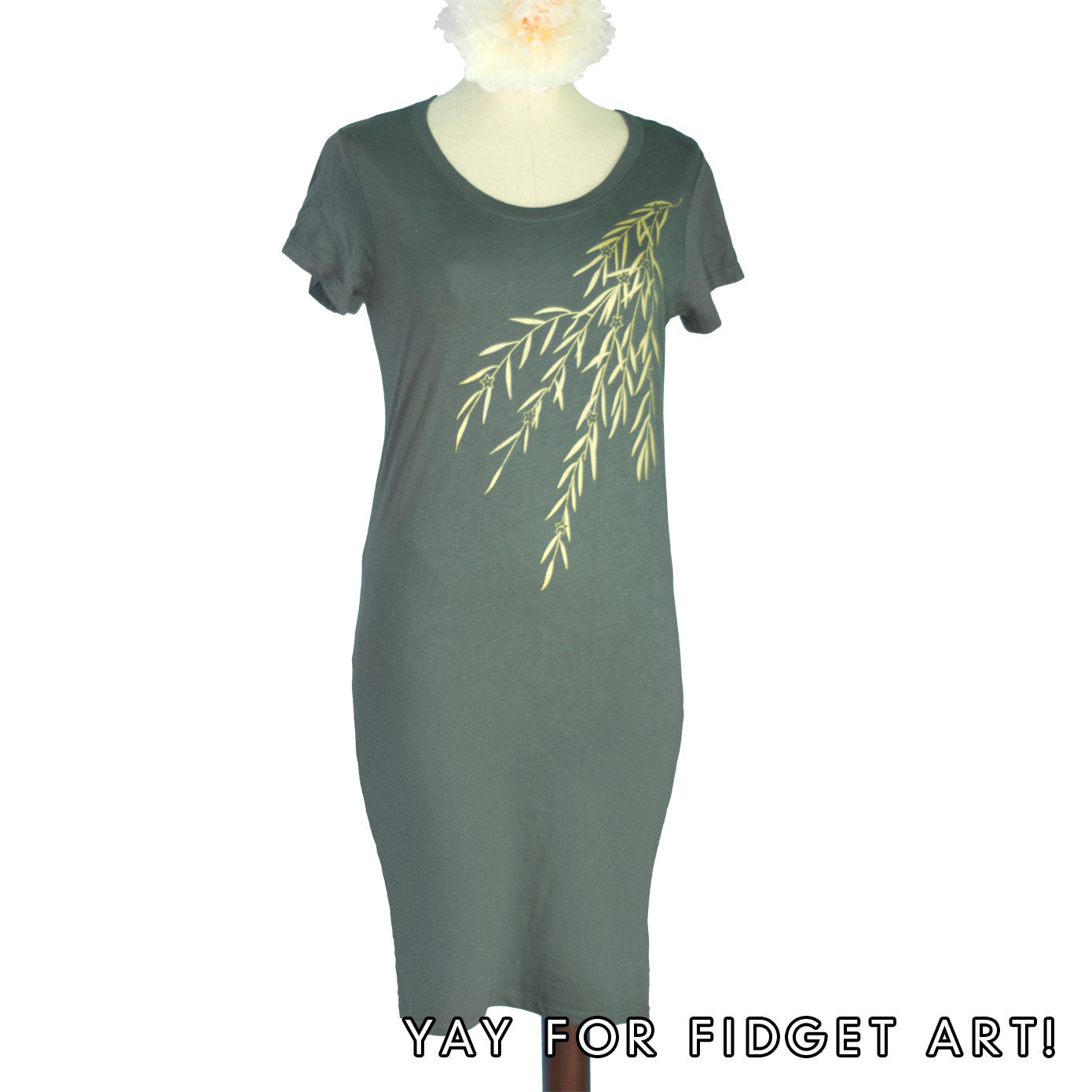Asphalt Grey Japanese Willow Bamboo T-Shirt Dress - Yay for Fidget Art!