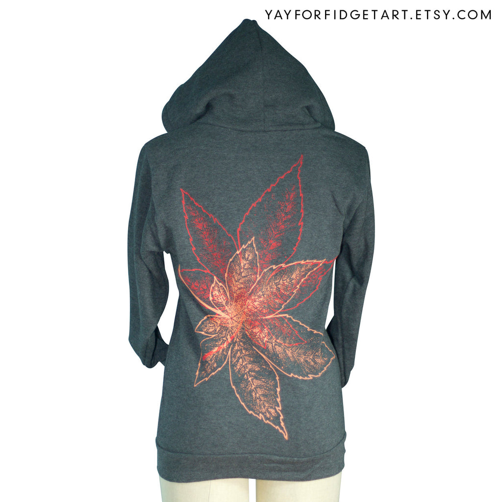 Heather Black Japanese Maple Leaves Zip Hoodie - Yay for Fidget Art!