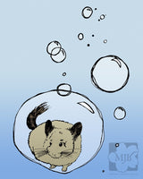 Chinchilla Floating in Large Bubble Giclee Illustration Art Print - Yay for Fidget Art!