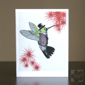Dapper Hummingbird Single Greeting Card - Yay for Fidget Art!
