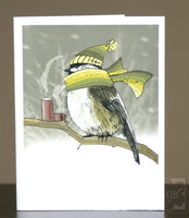 Chickadee in Snowstorm Single Greeting Card - Yay for Fidget Art!