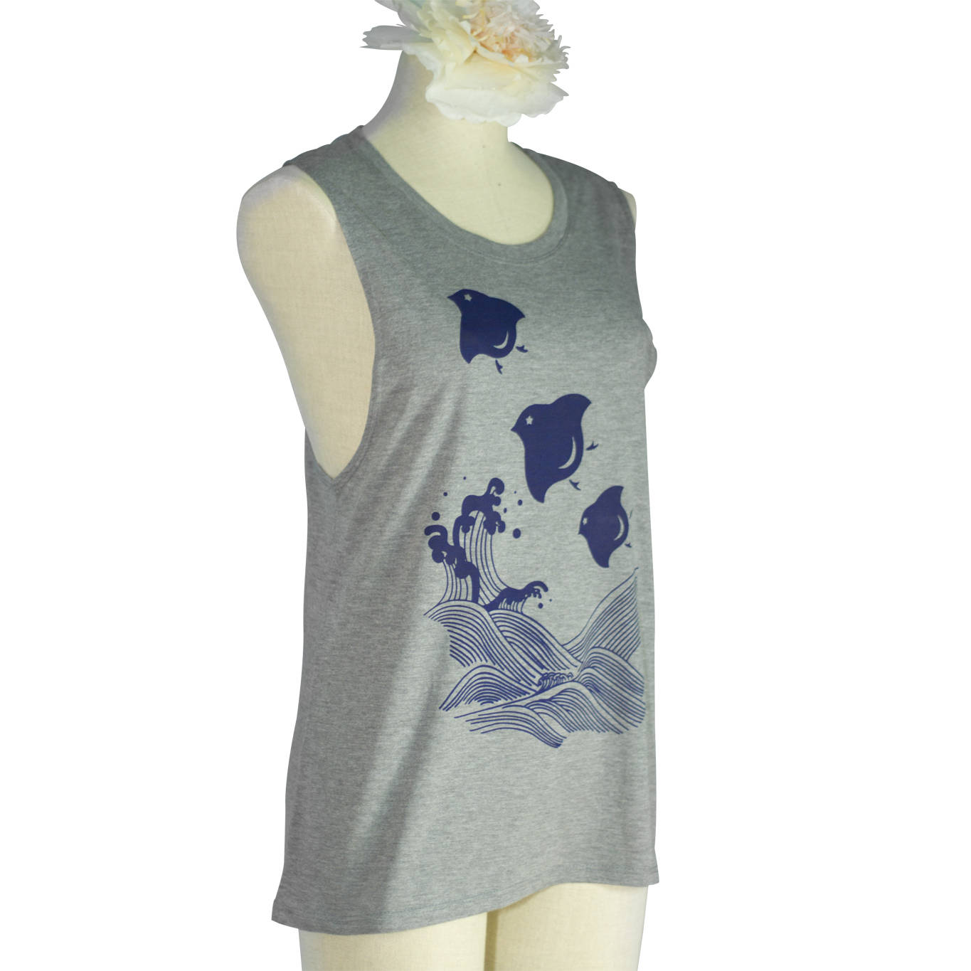 Heather Grey Japanese Chidori Birds Organic Bamboo Muscle Shirt - Yay for Fidget Art!