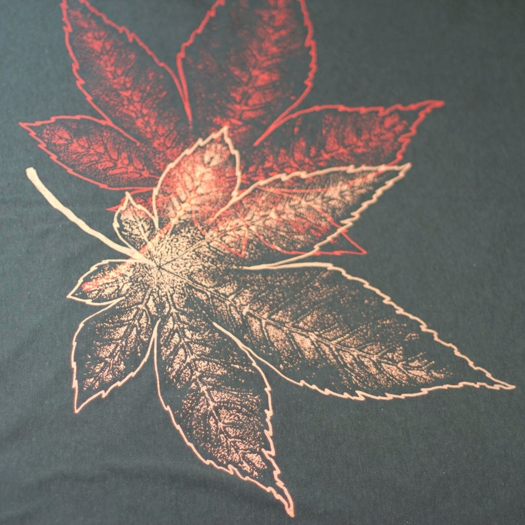 Black Tri-Blend Japanese Maple Leaves Infinity Scarf - Yay for Fidget Art!