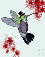 Dapper Spring Hummingbird Giclee Illustration Art Print - Yay for Fidget Art!
