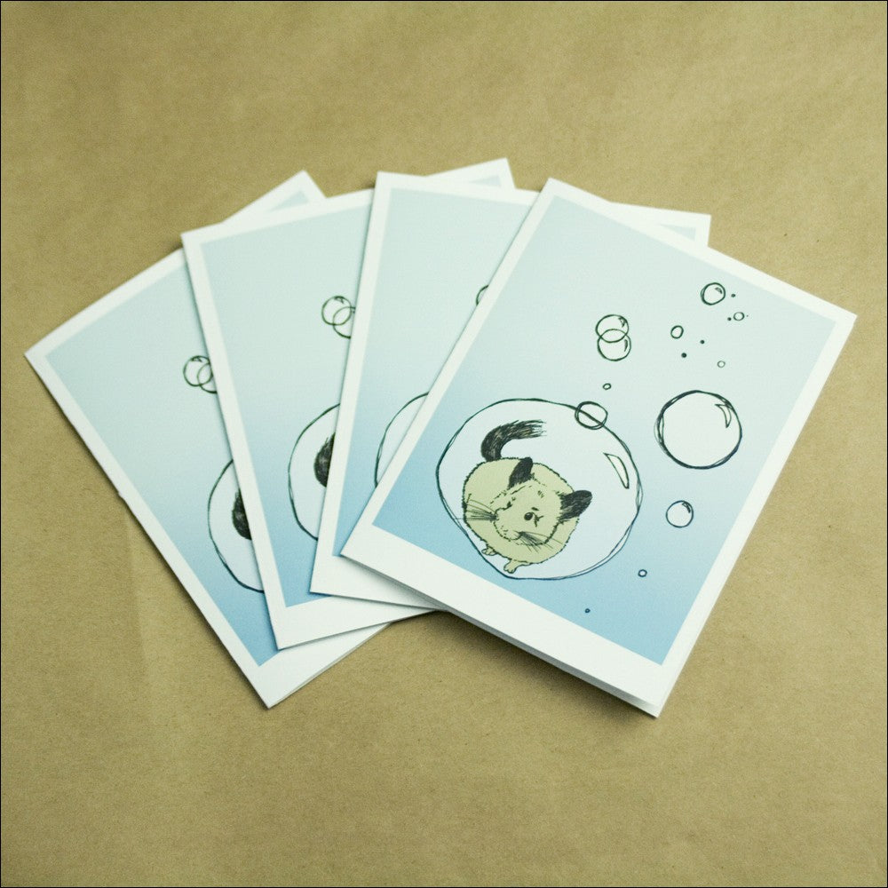 Chinchilla Floating in Bubble Greeting Cards - Set of FOUR - Yay for Fidget Art!