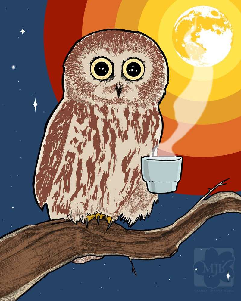 Coffee Night Owl - Single Blank Greeting Card - Yay for Fidget Art!