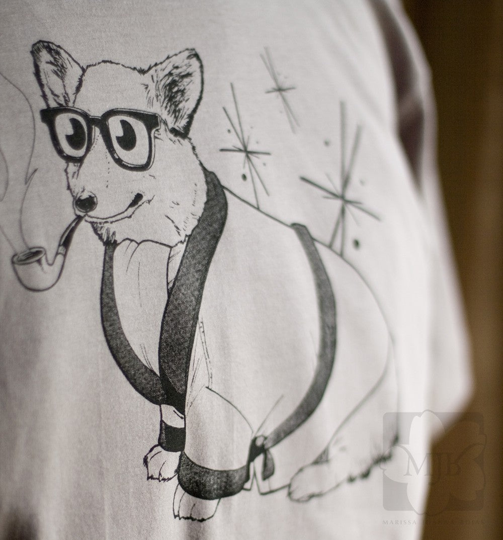 Cinder Grey Bob Corgman Welsh Corgi Organic T-Shirt - Yay for Fidget Art!