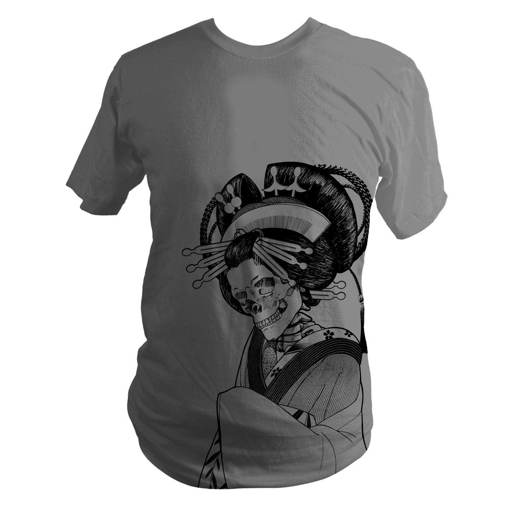 Asphalt Grey Japanese Skeleton Oiran Summer T-Shirt - Yay for Fidget Art!