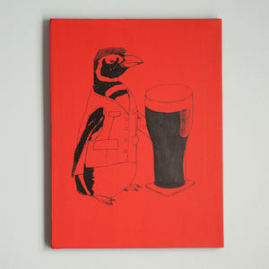 SALE Beer Penguin 12x16 Screen Printed Red Canvas Wrap - Yay for Fidget Art!