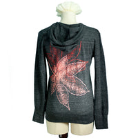 Eco Heather Black Japanese Maple Leaves Hoodie - Yay for Fidget Art!