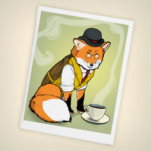 Fancy Red Fox, Tea Time Blank Greeting Card - Size A2 - Yay for Fidget Art!