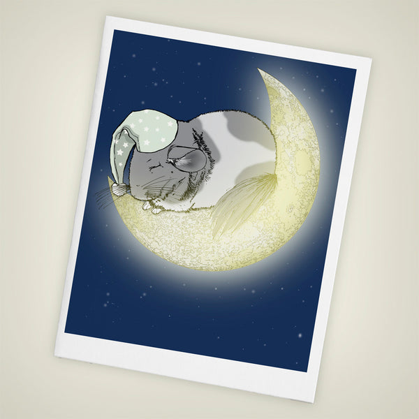 Sleeping Chinchilla on the Moon Blank Greeting Card, Size A2 SET OF FOUR - Yay for Fidget Art!