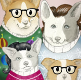 Welsh Corgi Dogs in Ugly Christmas Sweaters, Holiday Portrait Giclee Illustration Print - Yay for Fidget Art!