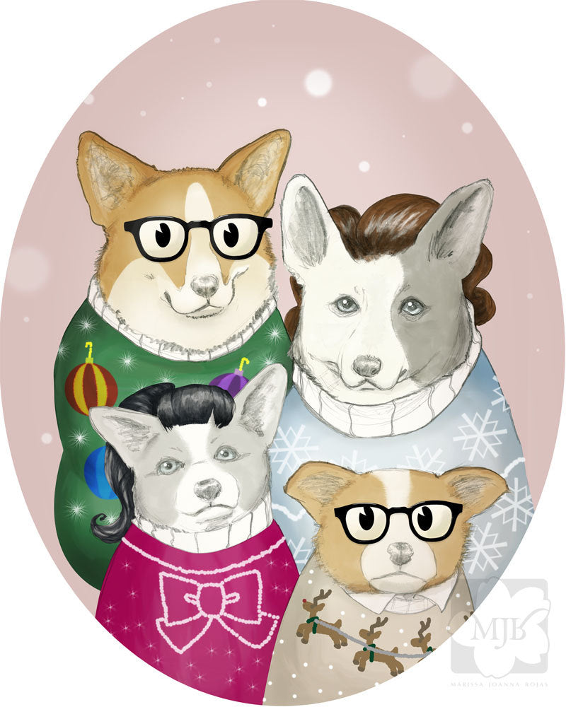 1950s Inspired Christmas Welsh Corgis Greeting Cards, Set of Four - Misprint SALE - Yay for Fidget Art!