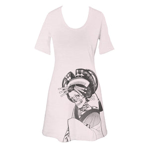 Light Pink Japanese Skeleton Oiran T-Shirt Dress - Yay for Fidget Art!