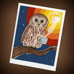 Coffee Night Owl Greeting Cards - Set of FOUR - Yay for Fidget Art!