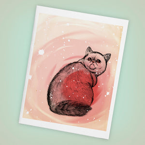Trippy Exotic Short Hair Cat Single Blank Greeting Card - Size A2 - Yay for Fidget Art!