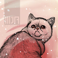 Trippy Exotic Shorthair Cat Greeting Card - Set of FOUR - Yay for Fidget Art!
