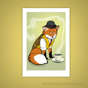 Dapper Red Fox Tea Time Woodland Giclee Illustration Art Print - Yay for Fidget Art!