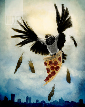 Pizza Thieving Pied Crow Greeting Cards - Set of FOUR - Yay for Fidget Art!