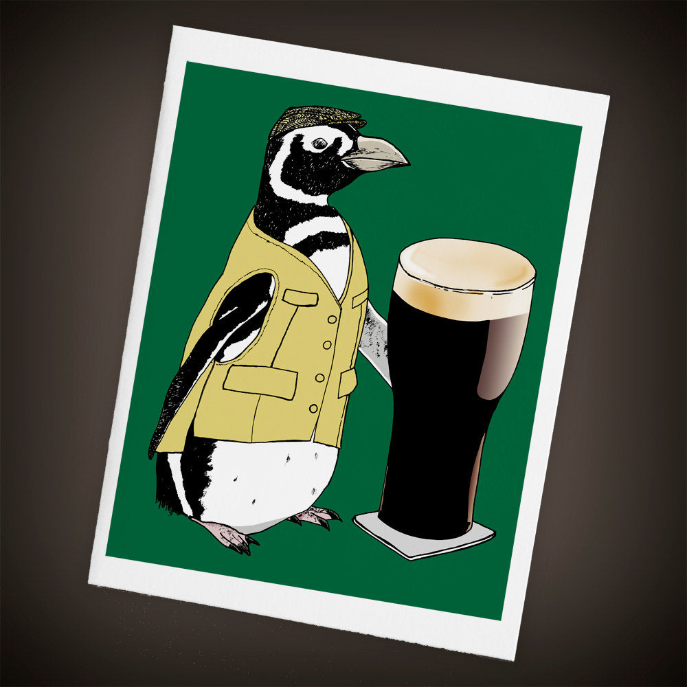 Penguin, Pint of Beer, Pub Single Blank Greeting Card, Size A2 - Yay for Fidget Art!