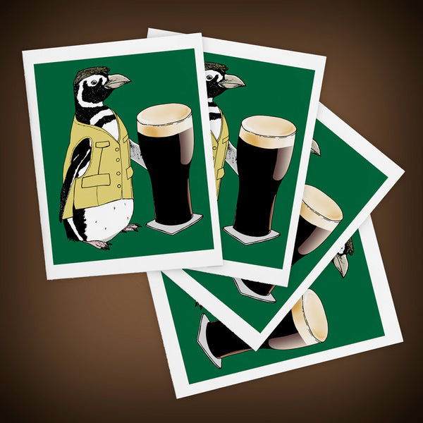 Beer Penguin Greeting Cards Set of FOUR - Yay for Fidget Art!