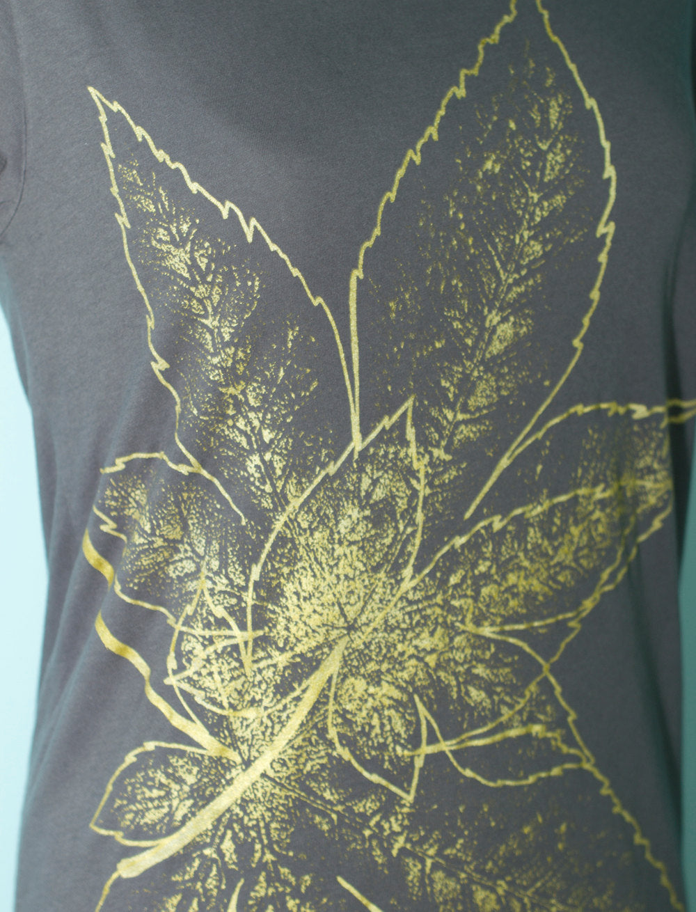 Asphalt Grey Japanese Maple Leaves Women's T-Shirt Second Close-Up - Yay for Fidget Art!