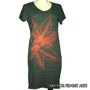 Eco Black Japanese Maple Leaves T-Shirt Dress - Yay for Fidget Art!