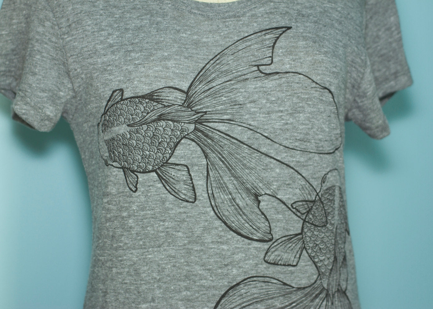Eco Grey Graphic Japanese Goldfish T-Shirt Dress - Yay for Fidget Art!