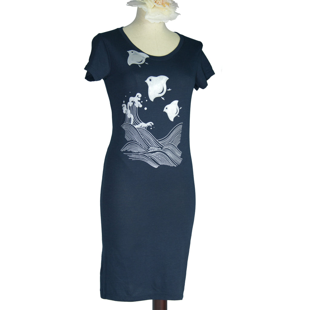 Navy Blue Japanese Chidori and Waves Bamboo T-Shirt Dress - Yay for Fidget Art!