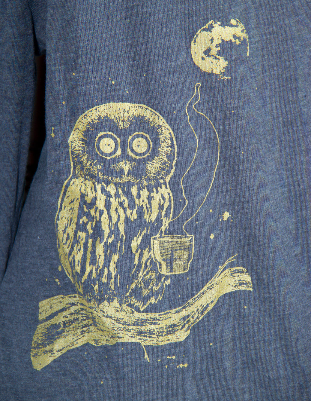 Navy Coffee Night Owl Screen Printed Hoodie