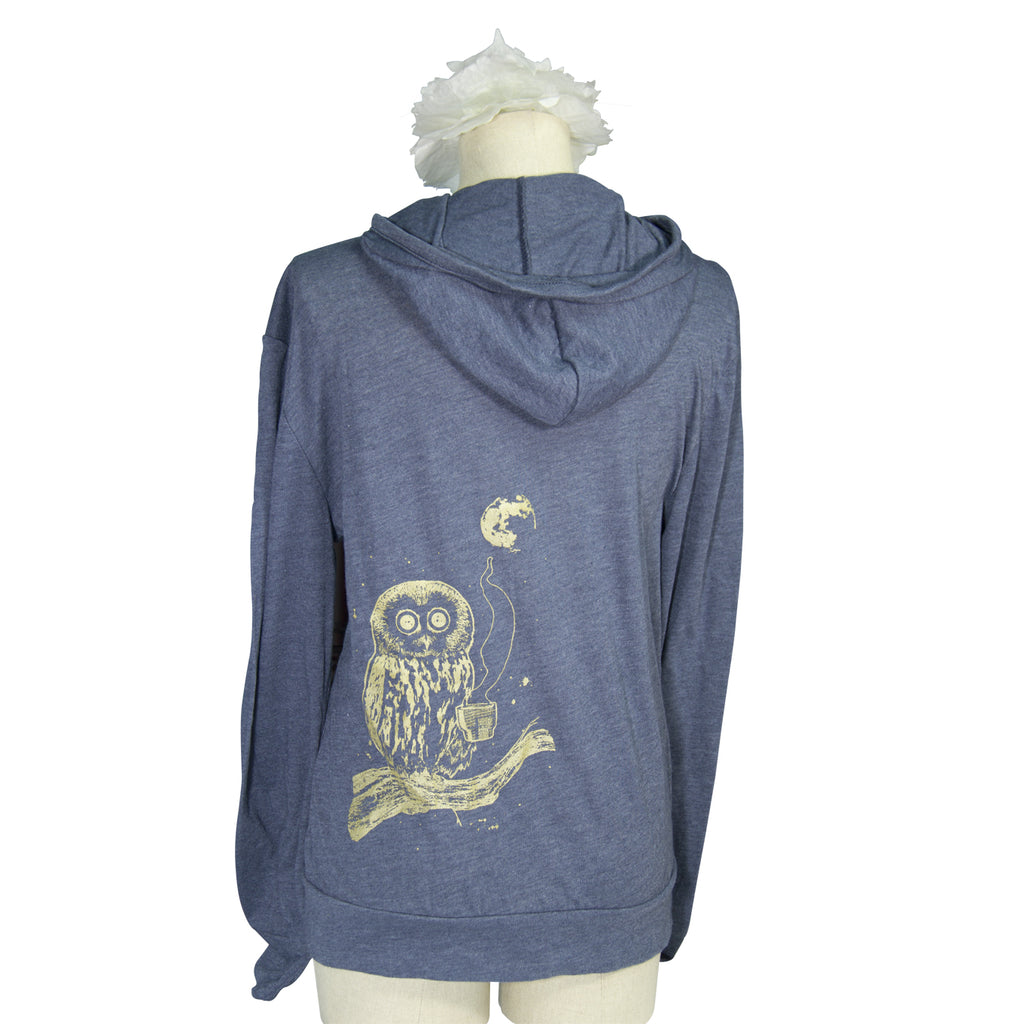 Navy Coffee Night Owl Screen Printed Hoodie - Yay for Fidget Art!