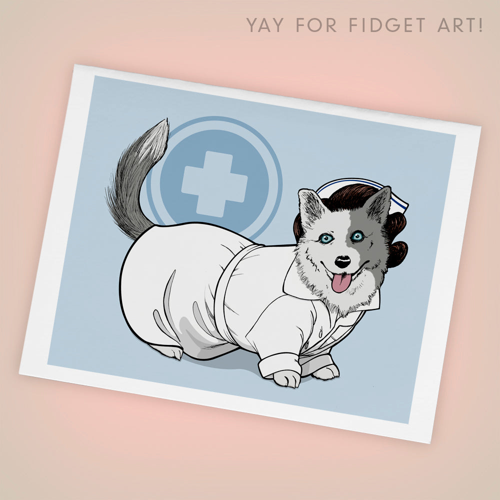 Nurse Betty Corgman, Welsh Corgi Dog A2 Blank Greeting Card, Single - Yay for Fidget Art!