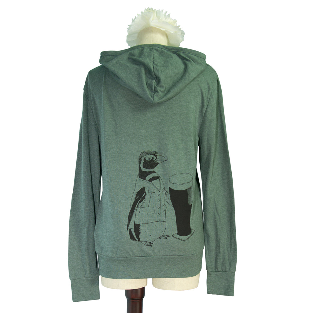 Pine Green Beer Penguin Long Sleeved Hoodie - Yay for Fidget Art!