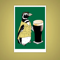 Beer Penguin Giclee Illustration Art Print - Yay for Fidget Art!