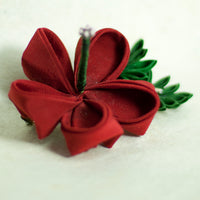 Red Hibiscus Japanese Kanzashi Silk Flower Hairclip - Yay for Fidget Art!