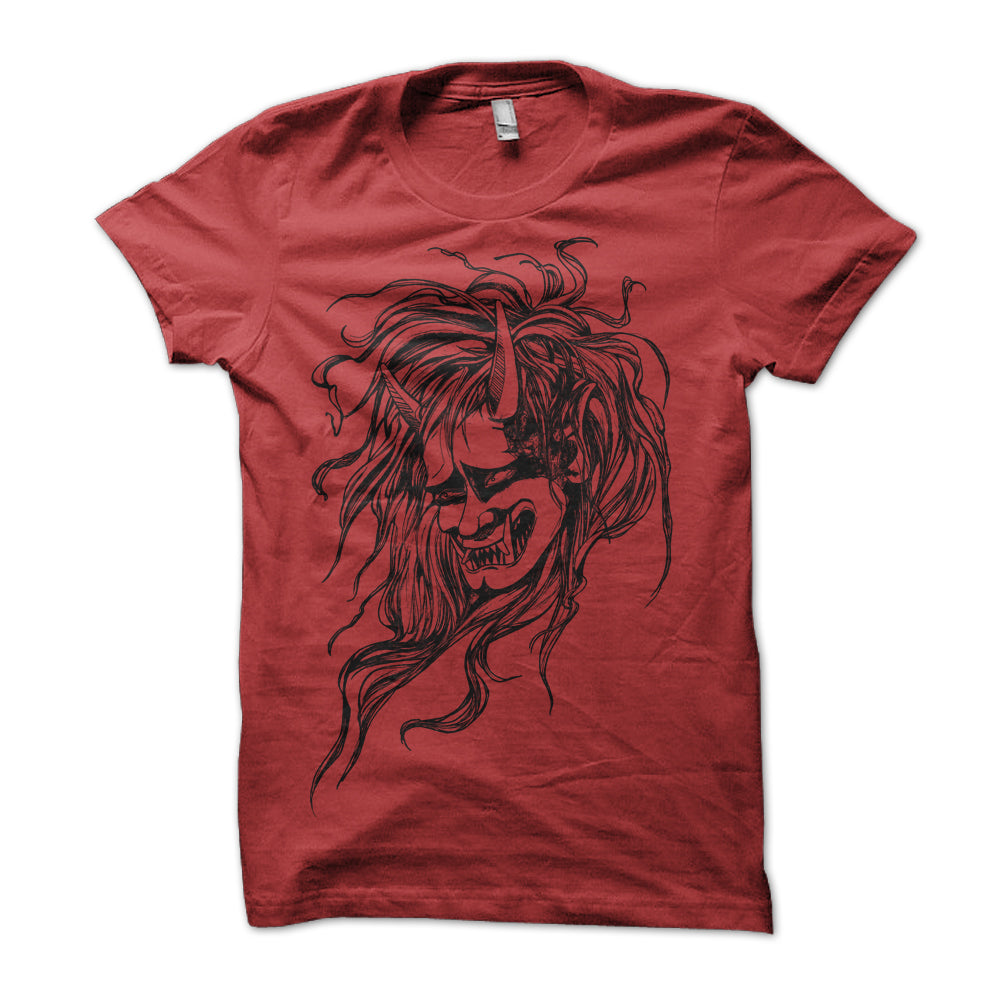 Red Japanese Oni Head T-Shirt - Yay for Fidget Art!