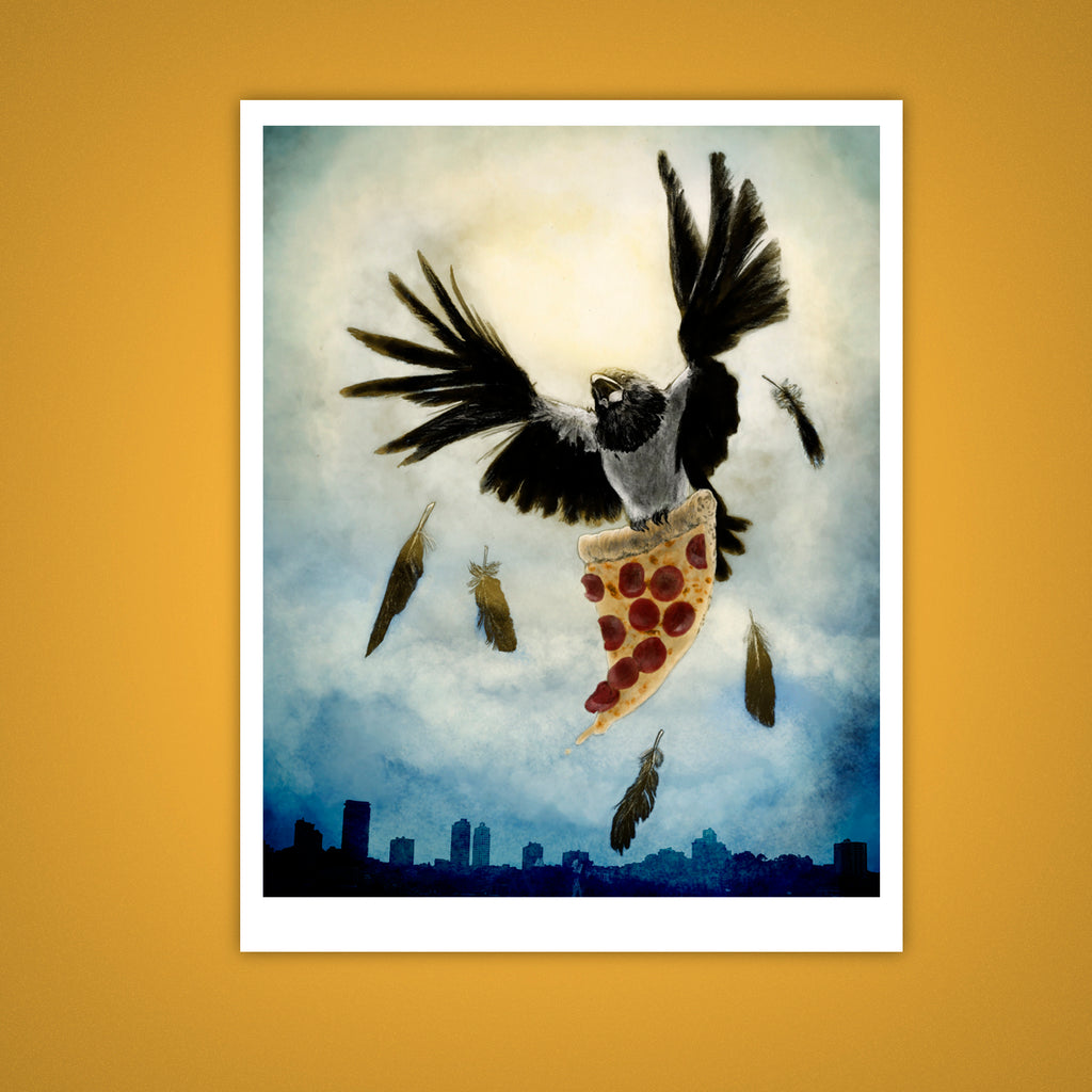 Cheeky Pied Crow Giclee Illustration Print - Yay for Fidget Art!