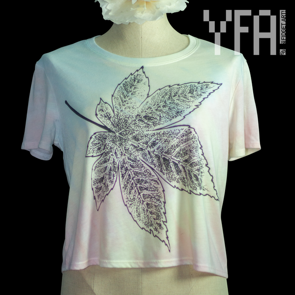 Pastel Tie Dye Japanese Maple Leaf Crop Top