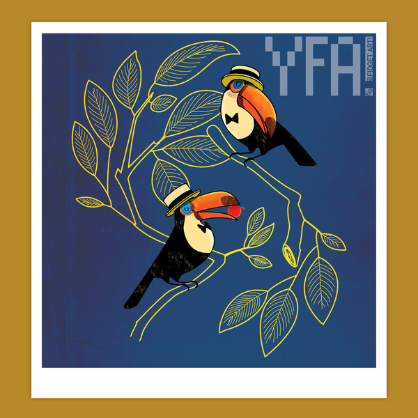 Toucan Couple Midcentury-Style Giclee Illustration Print