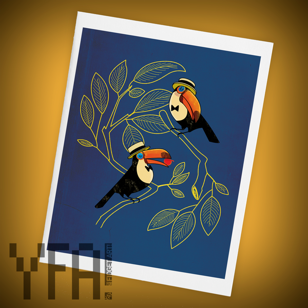 Toucan Courtship Single Greeting Card
