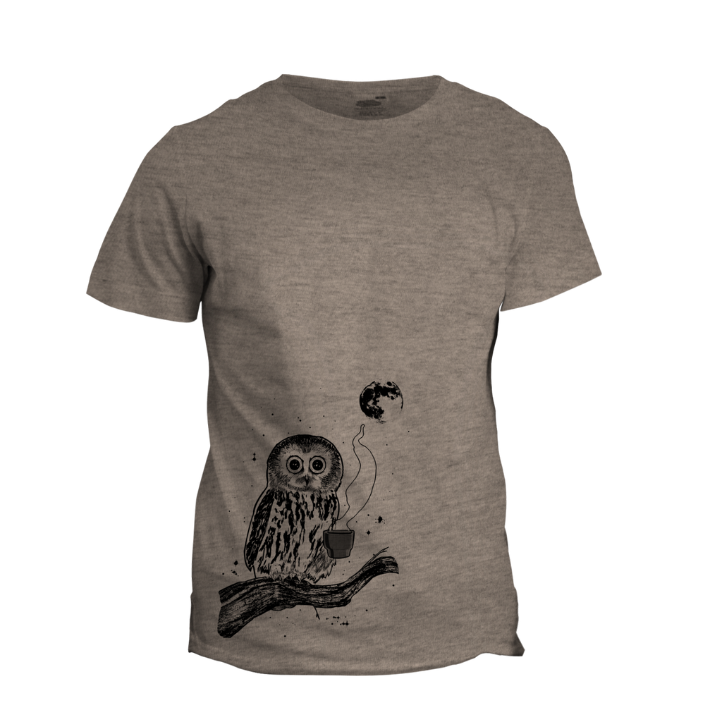 Light Brown Coffee Owl Tri-Blend T-Shirt - Yay for Fidget Art!