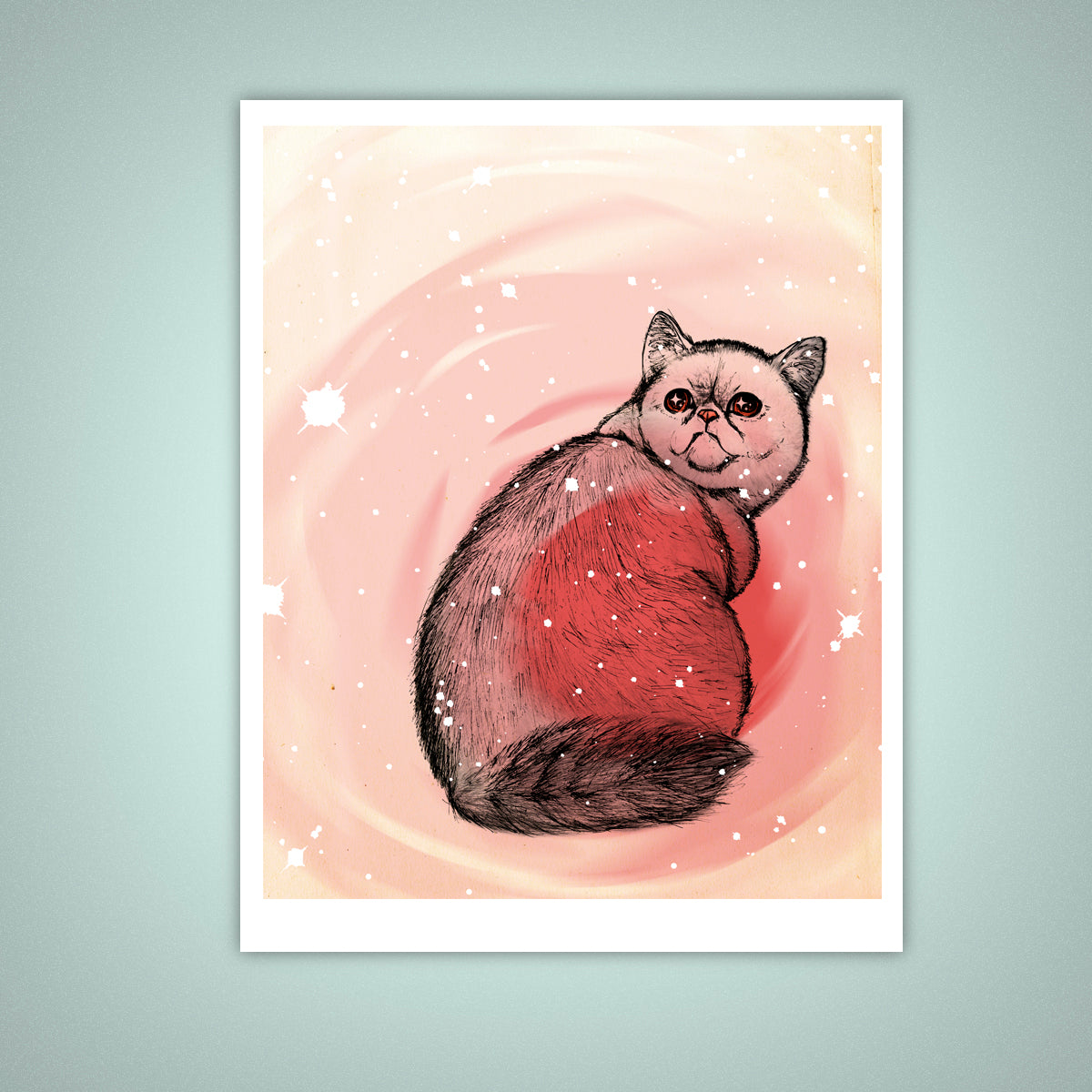 Trippy Exotic Shorthair Cat Giclee Illustration Print, Wall Art - Yay for Fidget Art!